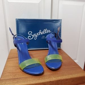 Seychelles Royal Blue and Neon Yellow Sandals